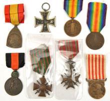 WWI Medals: Belgium: Yser medal, War Medal 1914-18, Croix de Guerre 1914-18