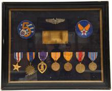 USA: An interesting framed display of 7 awards comprising: Silver Star, Air