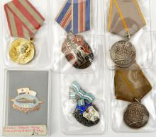 Soviet Russia: 2 silver and enamel awards, 2 Soviet Combat service medals a