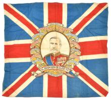 A Boer War printed Union Jack banner superimposed with Sir Redvers Buller a