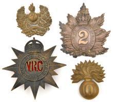 4 Militia headdress badges: Vic 2nd Q O Rifles puggaree with brooch pin, bl