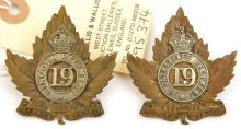 A post 1907 officer's cap badge of the 19th St Catherine's Regt  and simila