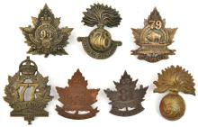 7 CEF infantry cap badges:  77th, 78th, 79th (brooch pin), 81st (81A), 82nd