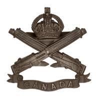 A CEF Machine Gun Corps officer's bronze cap badge (45-1-7), 4 blades faste