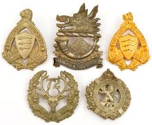 5 WWII era Canadian Scottish glengarry badges: Essex Scottish officers gilt