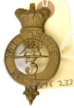 An OR's 1874 pattern brass glengarry badge of The 3rd (E.Kent) Regt (The Bu