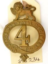 An OR's 1874 pattern brass glengarry badge of The 4th (The King's Own) Regt