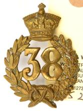 An OR's 1874 pattern brass glengarry badge of The 38th (1st Staffordshire)