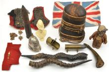 A pair of steel chainmail epaulettes, 11 QC Royal Dragoon buttons and a pai