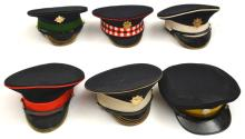 A Coldstream Guards NCO's peaked cap,  with anodised badge, another similar