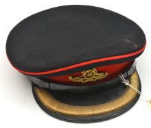 A post 1902 RA officer's blue service dress cap, gilt KC badge, gilt bullio