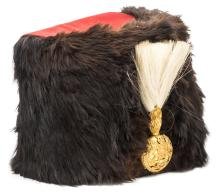 A Vic officer's busby of The Royal Artillery, red cloth bag, gilt grenade p