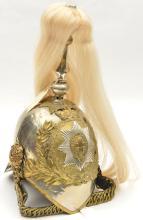 An ERII Household Cavalry trooper's helmet,  WM skull (crinkled overall, he