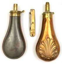 """An embossed copper gun size powder flask """"shell"""",  (slightly dented, seam r"""