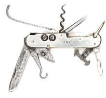 A coachman's clasp knife,  with blades, bootlace hooks, pair studs for repa