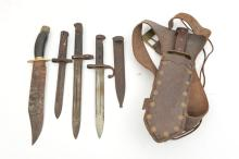 """An old home made bowie type knife,  blade 10"""", with brass crosspiece and wo"""