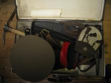 A WWII British entrenching tool, a similar US entrenching tool, a Mannliche