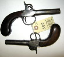 A Birmingham made 60 bore percussion boxlock pocket pistol, with scroll eng