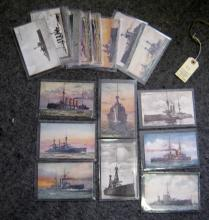 12 pre WWI Tuck's coloured postcards of British warships; 5 similar monochr