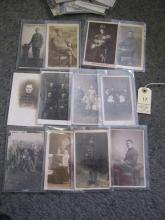 14 WWI monochrome postcards of individuals, mostly infantry men in service