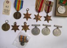 WWII medals: 1939-45 star, Africa star (2, one with 8th Army clasp), Italy