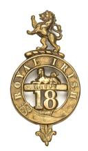 An OR's 1874 pattern brass glengarry badge of  The 18th (The R. Irish) Regt