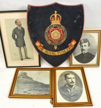 """A wooden plaque painted with Royal Fusiliers crest, 18"""" x 15""""; 3 reprints o"""
