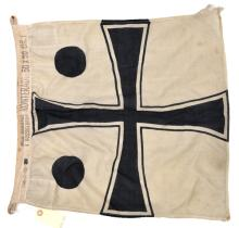 A small Imperial German naval flag denoting the rank of Rear Admiral, black