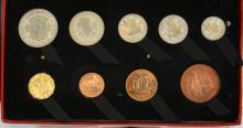 Britain: Proof set of coins 1950, halfcrown to farthing (9 coins), Unc in o