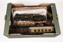 A quantity of Hornby etc O gauge railway. A Bing for Basset Lowke clockwork