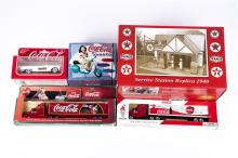 A collection of various makes of TEXACO and Coca-Cola vehicles etc. Texaco.