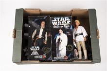 7x 12 inch Star Wars figures and a bagatelle board. 3x 1970s figures; Luke