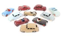 10 Dinky Toys. Jaguar SS100, Austin Atlantic, Porsche 356, 2x Volkswagen Be