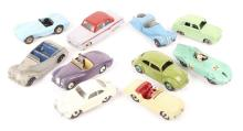 10 Dinky Toys. Porsche 356, Triumph TR2, Sunbeam Alpine, Frazer Nash BMW, A