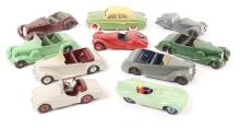 10 Dinky Toys. Triumph TR2, 2x Frazer Nash BMW, Jaguar D Type, 2x Armstrong