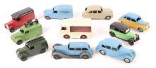 10 Dinky Toys. Austin Devon, Standard Vanguard, Triumph 1800, Taxi, closed