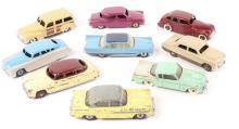 9 Dinky American Cars. 2x Hudson Sedans, Hudson Hornet, Desoto Fireflite, S
