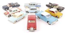 9 Dinky Toys. Ford Cortina Mk1, Triumph Herald, Ford Cortina Mk2 rally car,
