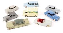 8 French Dinky Toys. 3x Peugeot – 2x 203 and a 403 U5 Break. Plus 2x Simca