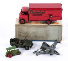 A Dinky Toys Guy Van, Slumberland 514. Together with a Gloster Javelin, Aus