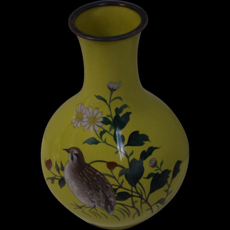 Antique Namikawa Sosuke Meiji Period Cloisonne Vase Quail