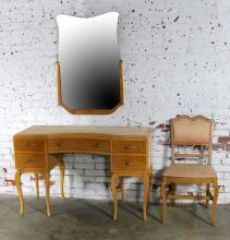 Art Deco Style Vanity with Mirror and Chair by Rway Northern Furniture Company of Sheboygan