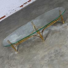 Hollywood Regency Mid Century Gilt Iron Base Coffee Table with Elliptical Glass Top