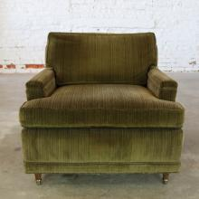 Deep Green Velvet Lawson Style Vintage Club Chair Mid Century Modern
