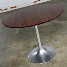 Saarinen Style Tulip Base Table in Aluminum with Woodgrain Laminate Top