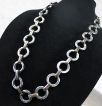 Vintage YSL Yves Saint Laurent Pewter Colored Lucite & Metal Chunky Link Necklace / Belt