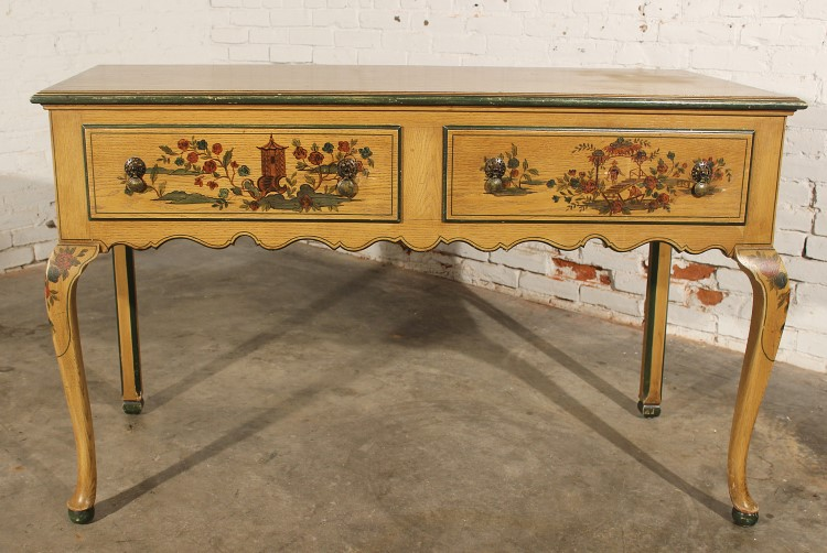 Antique Chinoiserie Hand Painted Hunt Style Buffet Server with Cabriole Legs - Antique Chinoiserie Hand Painted Hunt Style Buffet Server Wi