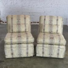 Striped Roll Back Slipper Chairs a Vintage Pair