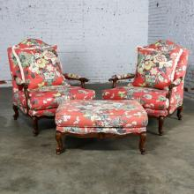 Overscale Pair Fauteuil Chairs with Ottoman Coral Cream and Gray