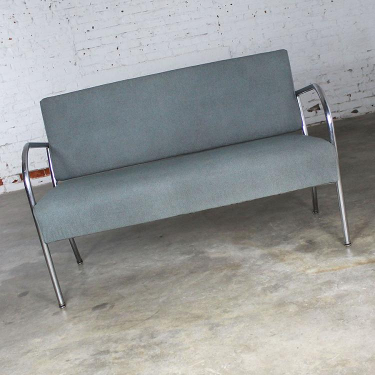 Art Deco Machine Age Streamline Moderne Royal Metal Co. Chrome And  Upholstered Bench Sofa